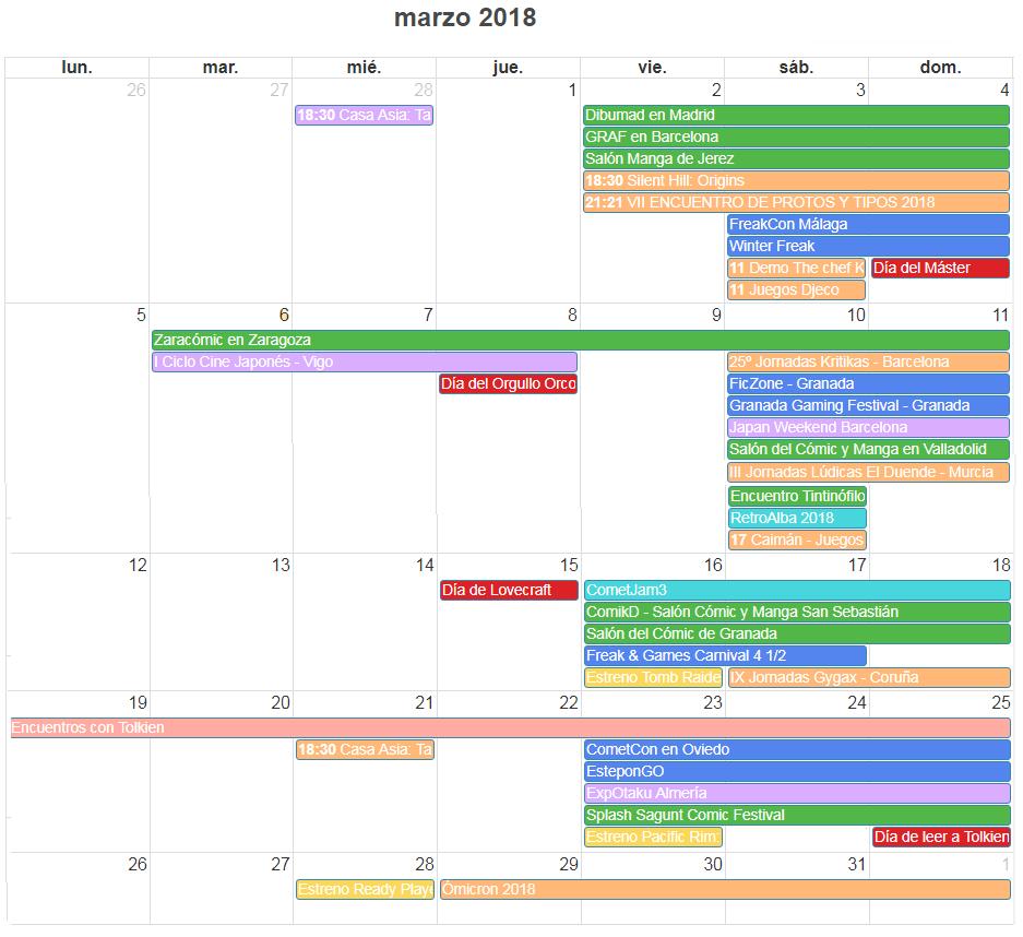 Calendario y agenda eventos frikis marzo 2018