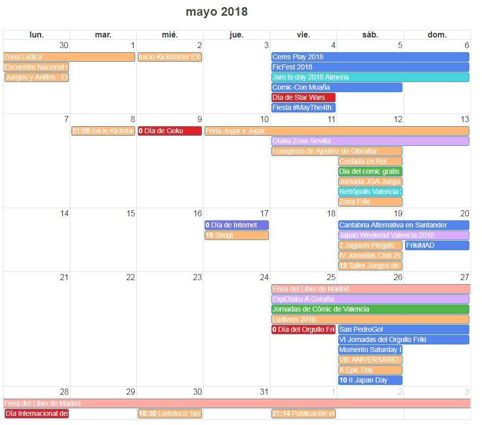 Calendario Friki Agenda de Mayo 2018