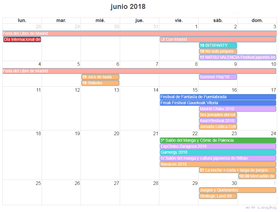 calendario y agenda friki junio 2018