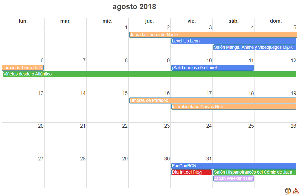 calendario y agenda de eventos frikis agosto 2018