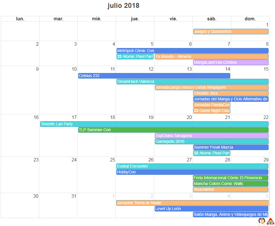agenda calendario friki de julio 2018