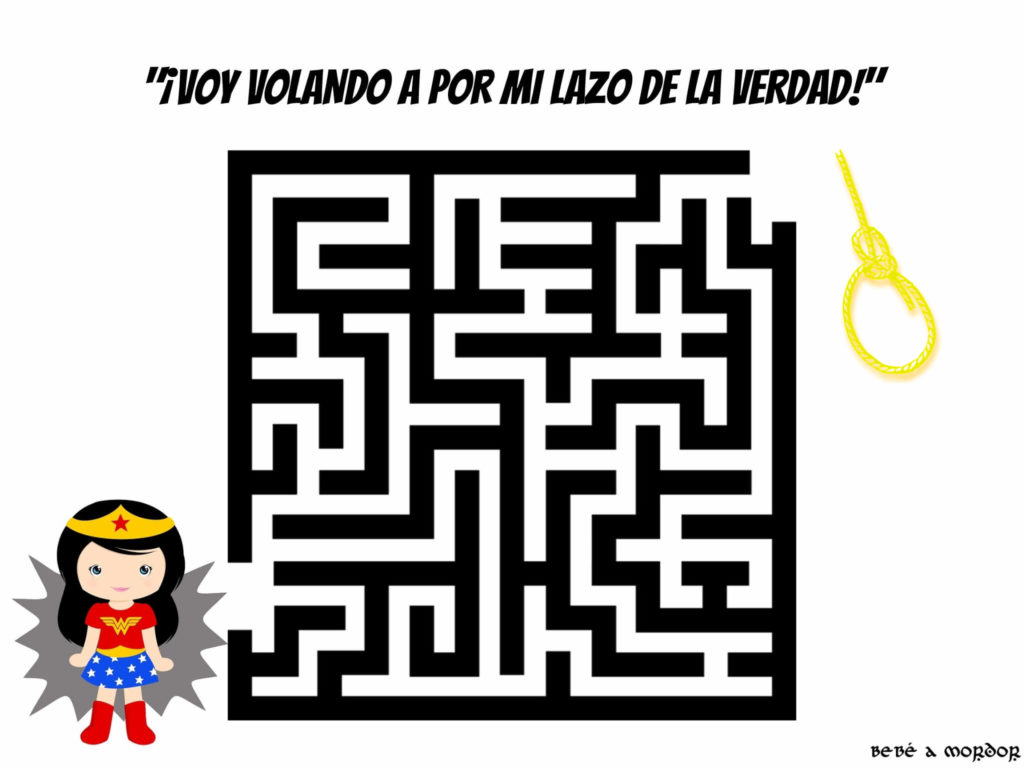 LABERINTOs FRIKIs imprimibles para niños DC WONDER WOMAN