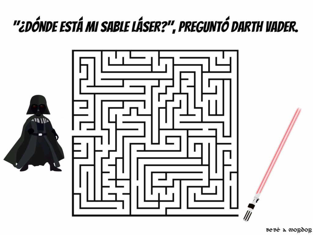 LABERINTO FRIKI imprimible para niños STAR WARS de Darth Vader