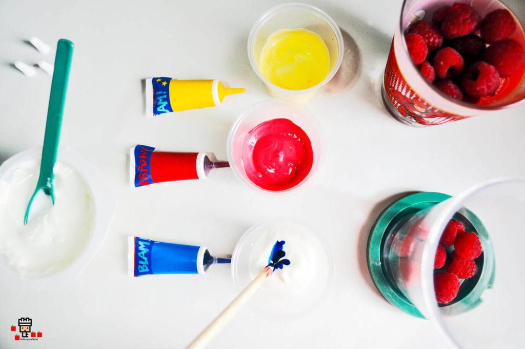 Colorante para yogur superheroico para niños