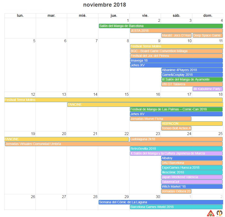 calendario friki noviembre 2018 eventos agenda