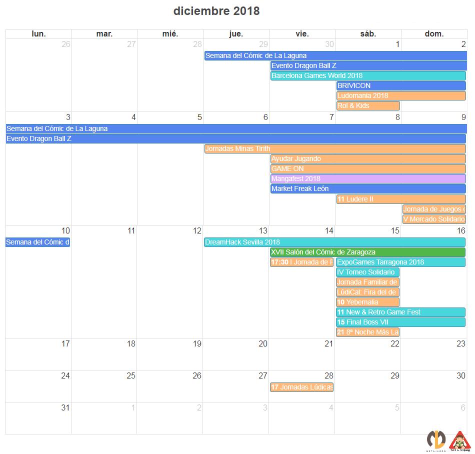 CAlendario eventos frikis diciembre 2018 agenda