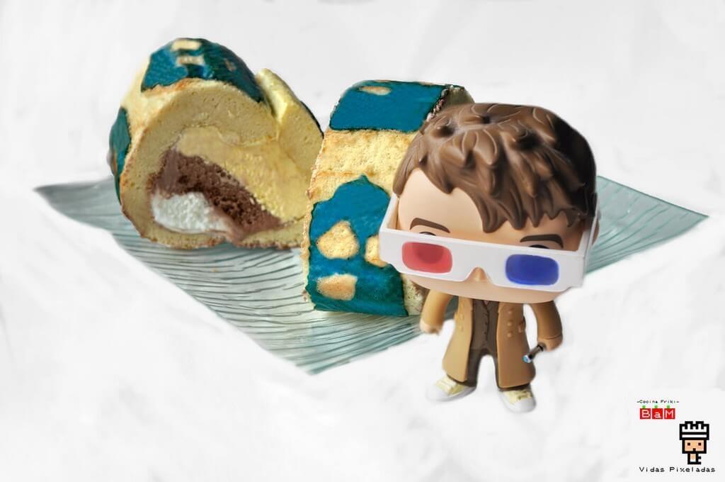 el doctor who y el pastel tardis Swiss Roll con cocina friki