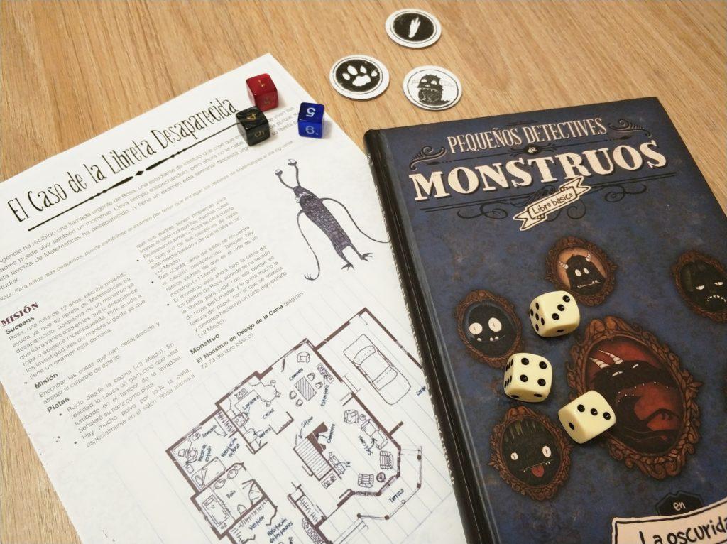 Pequeños Detectives de Monstruos dados y caso plantilla