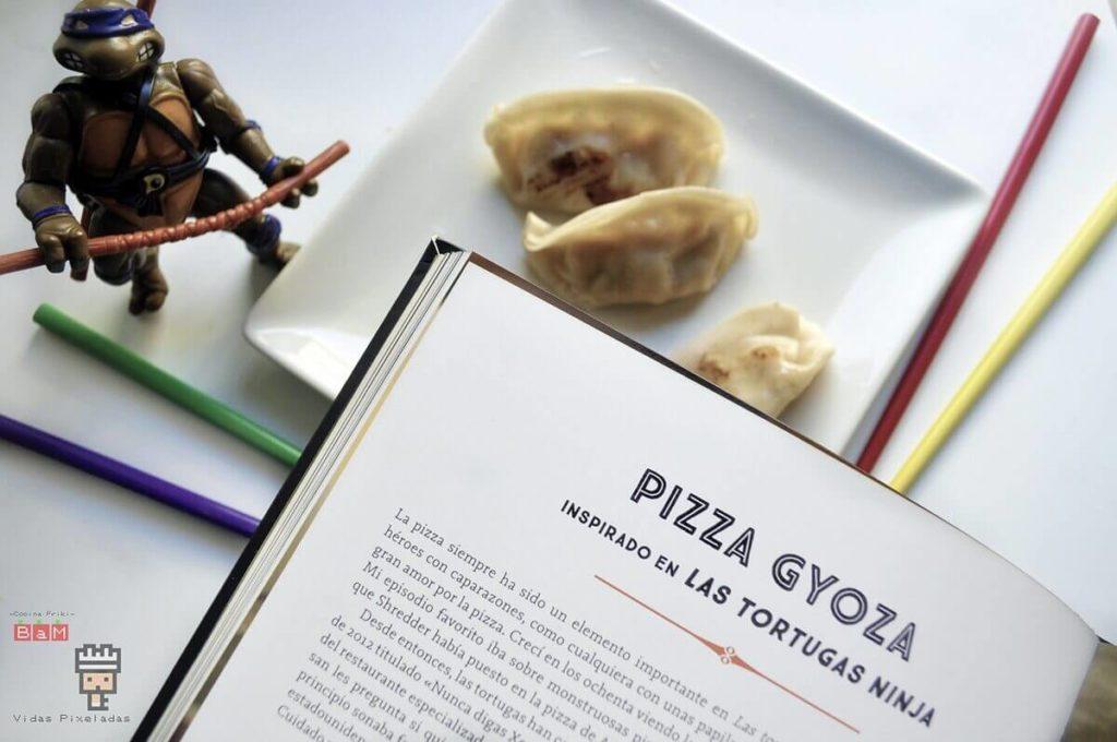 cómo hacer una pizza gyoza de las Tortugas Ninja
