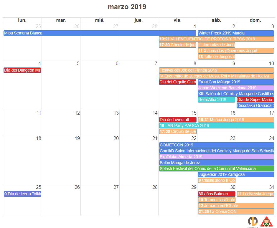 CALENDARIO FRIKI DE MARZO 2019