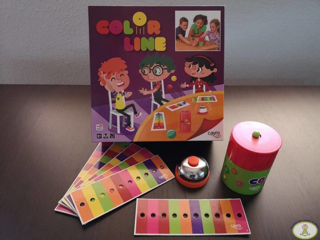 todos los componentes del juego de mesa Color Line de Cayro