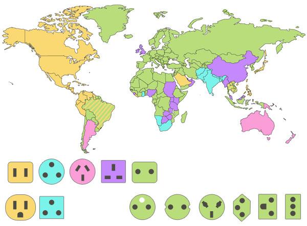 Mapa Mundo enchufes países adaptador