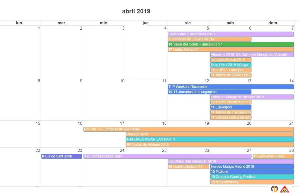 Calendario Friki agenda eventos abril 2019