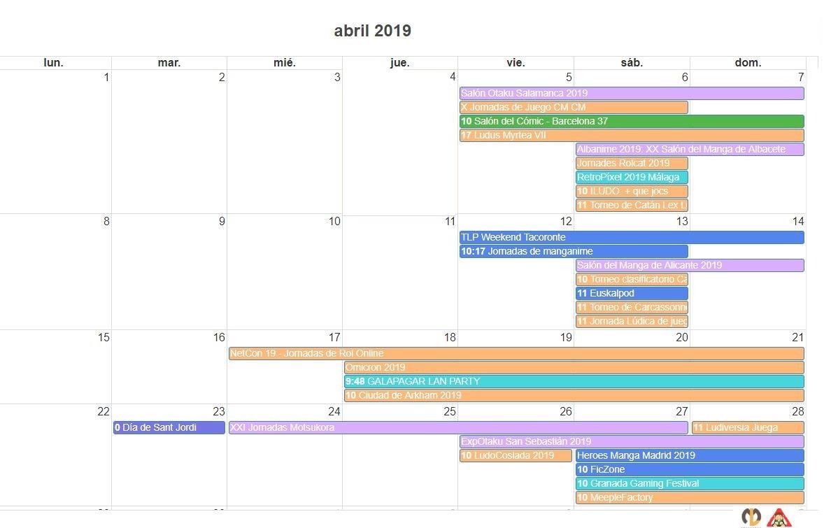 Calendario Friki Abril 2019