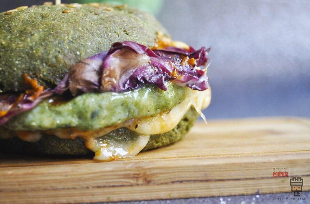receta de hamburguesa verde vegetariana de Hulk