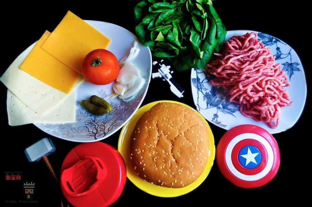 ingredientes para la hamburguesa doble de Capitana Marvel