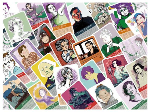 cartas ilustradas juego de mesa Herstoricas Pioneras para juegos de mesa y equidad de género