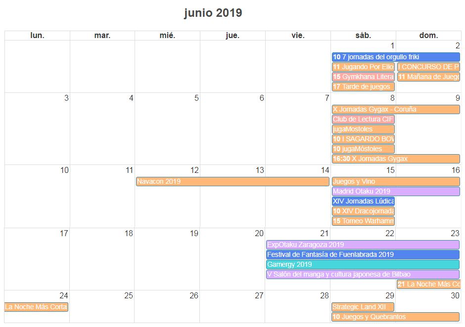 calendario de eventos frikis de junio de 2019