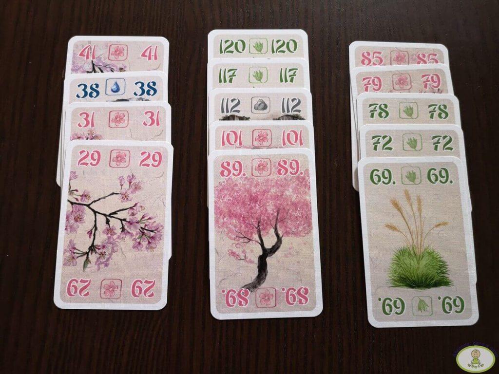 3 hileras de jardines en juego de mesa Ohanami