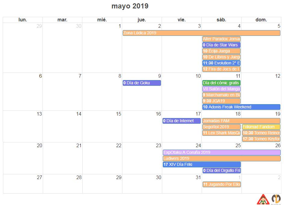 calendario friki de mayo 2019