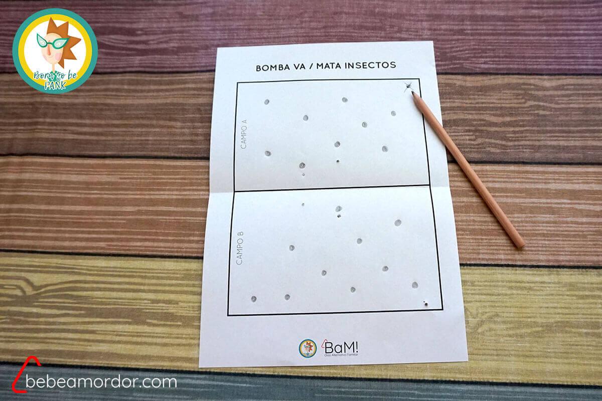 Bomba va Mata Insectos juegos con lápiz y papel