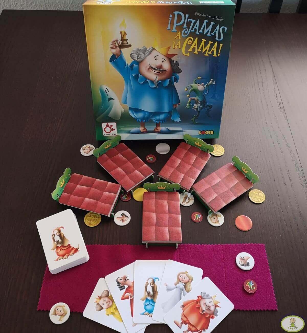 componentes del juego ¡Pijamas a la cama!