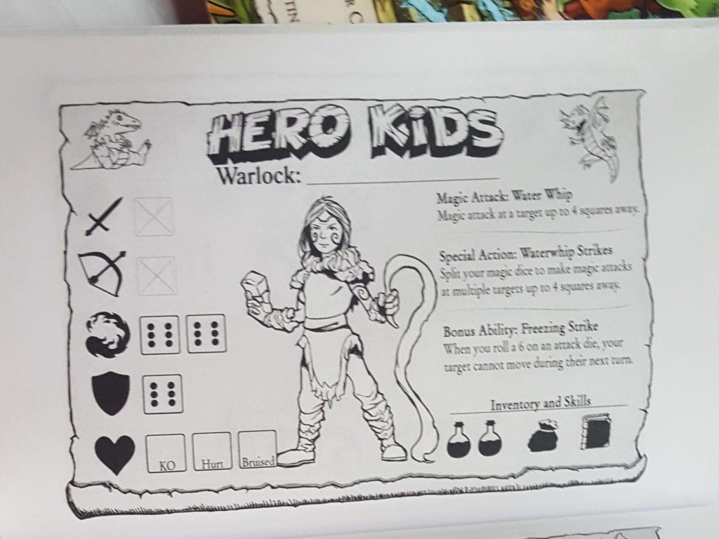 Ficha personaje Brujo juego de rol Hero Kids