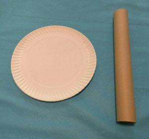 plato de cartón y tubo