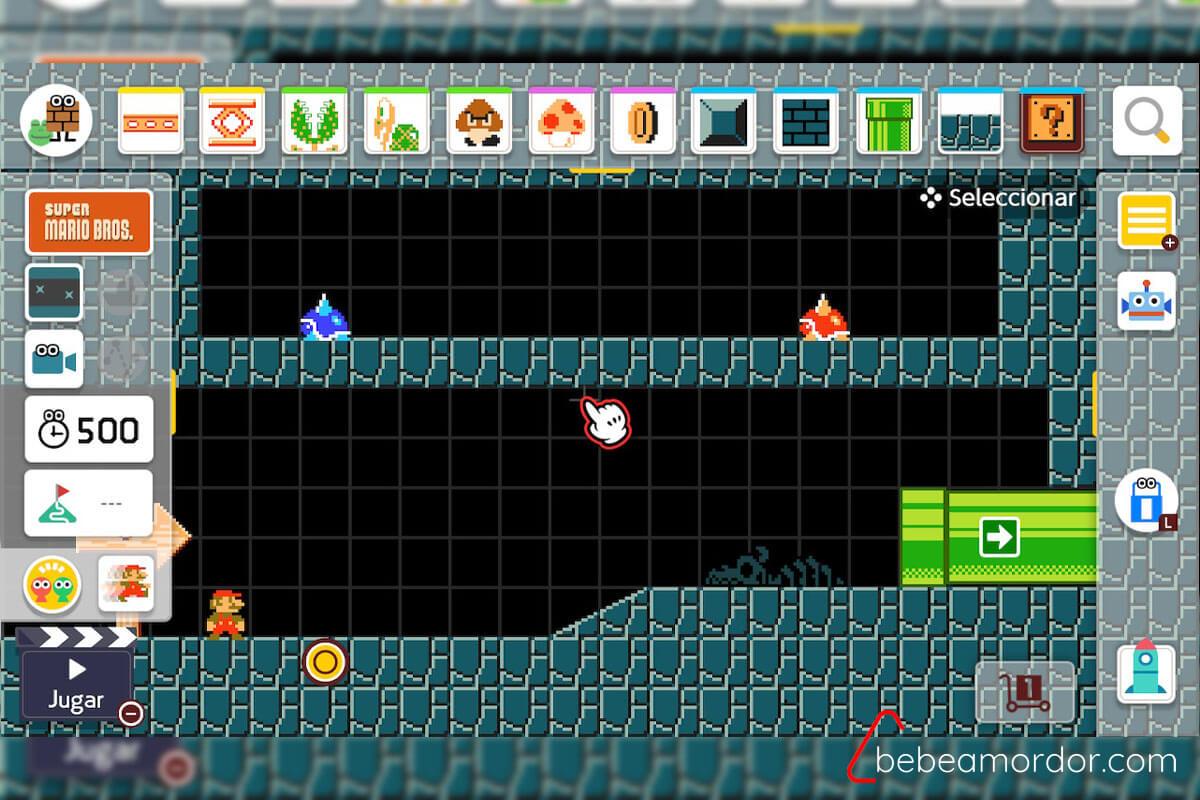 Modo creación de niveles de Super Mario Maker 2