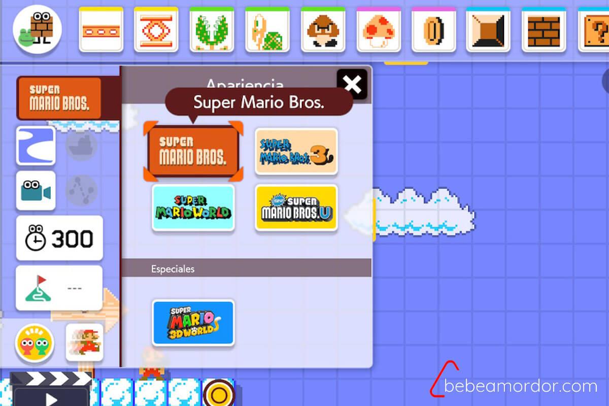 Mundos que podemos seleccionar en la creación de niveles de Super Mario Maker 2