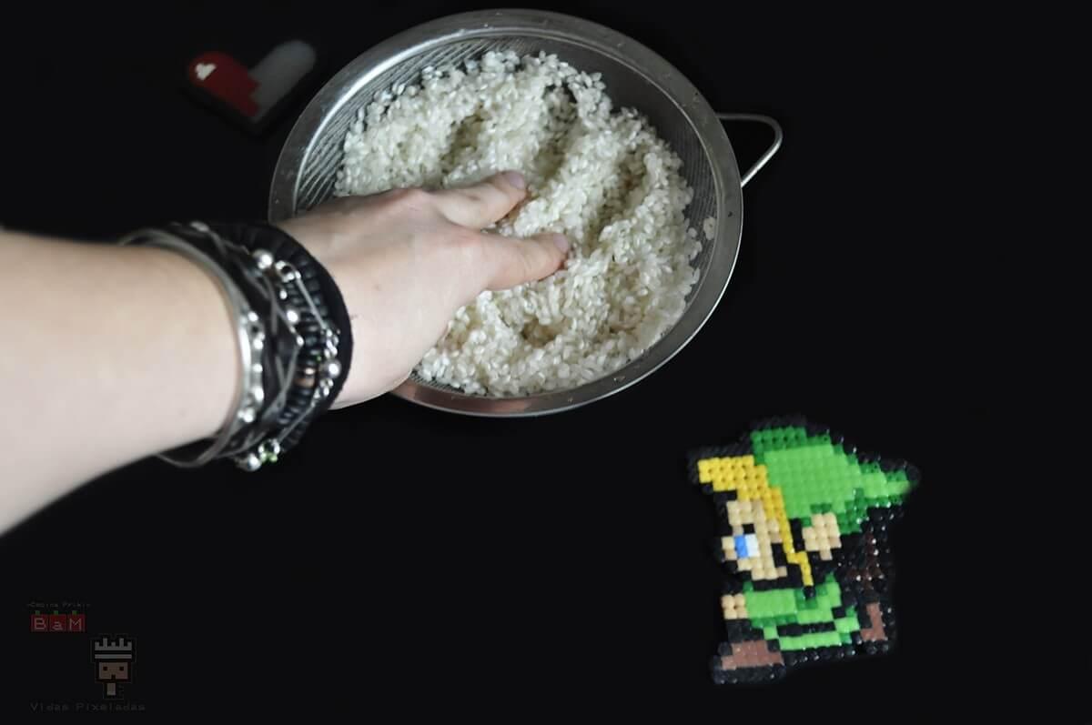 bolas de arroz Zelda escurrir