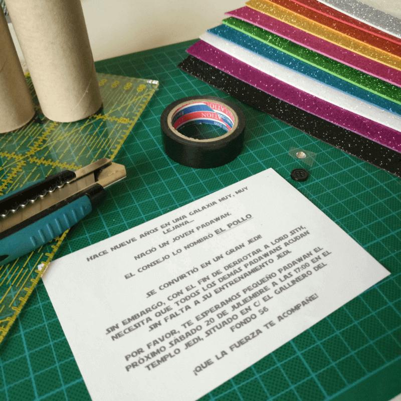 Materiales invitación DIY fiesta Star Wars