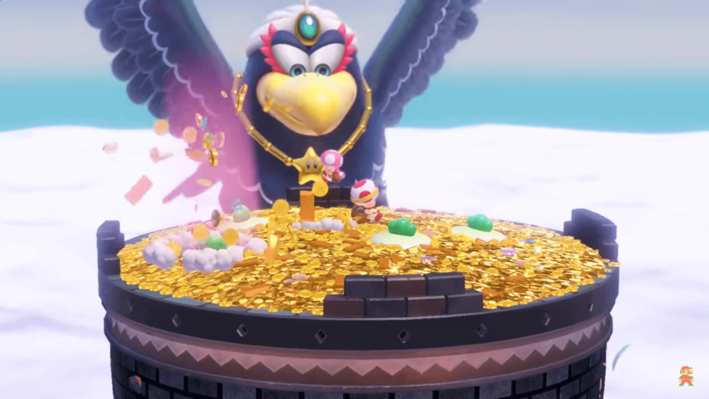 enemigo o malo final Wingo aguila giante en Captain Toad