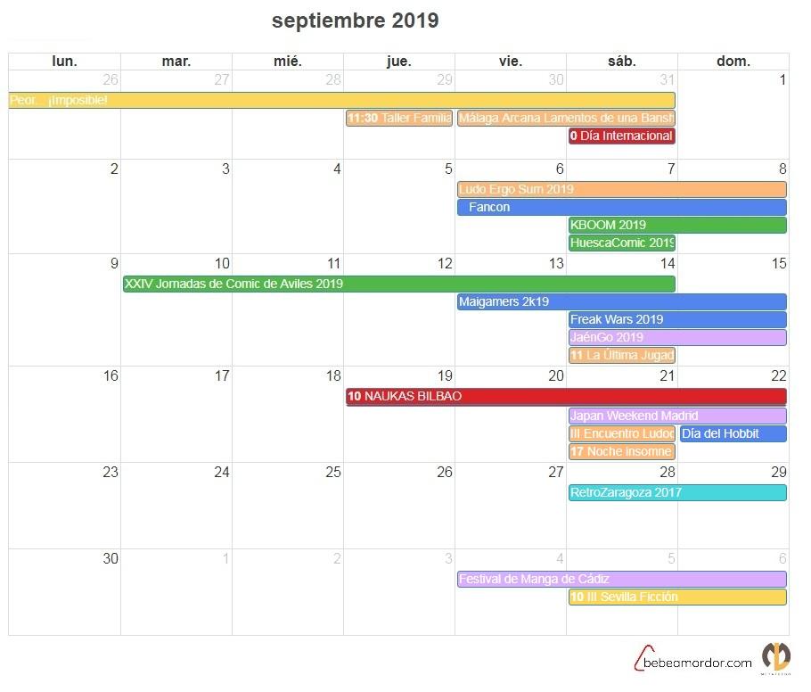 calendario Friki septiembre 2019 o