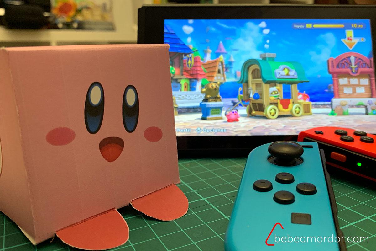 imprimible de Kirby con fondo de videojuego de Kirby en la Nintendo Switch