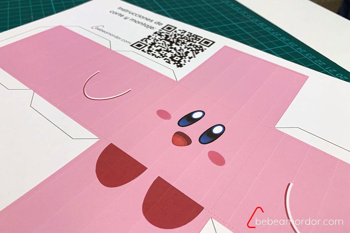 imprimible de Kirby con fondo rosa de Kirby