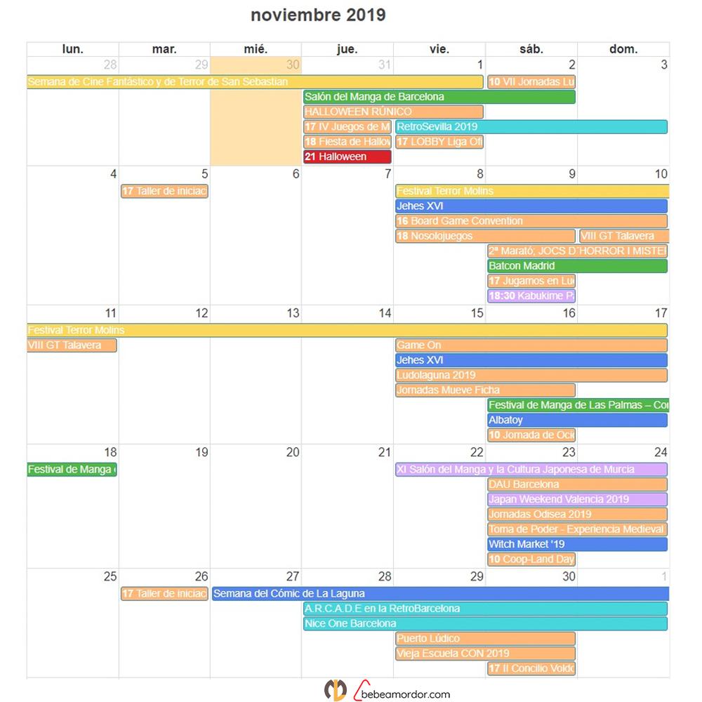 eventos frikis españa noviembre