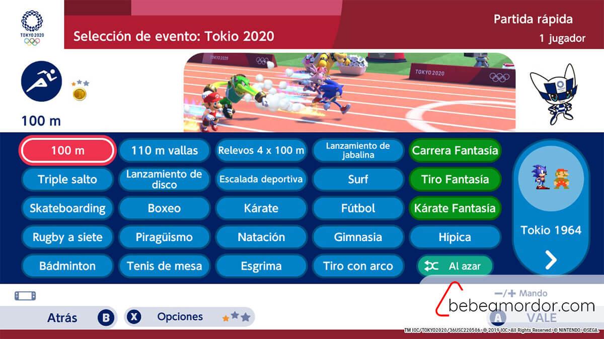 Pruebas de 2020 en Mario y Sonic