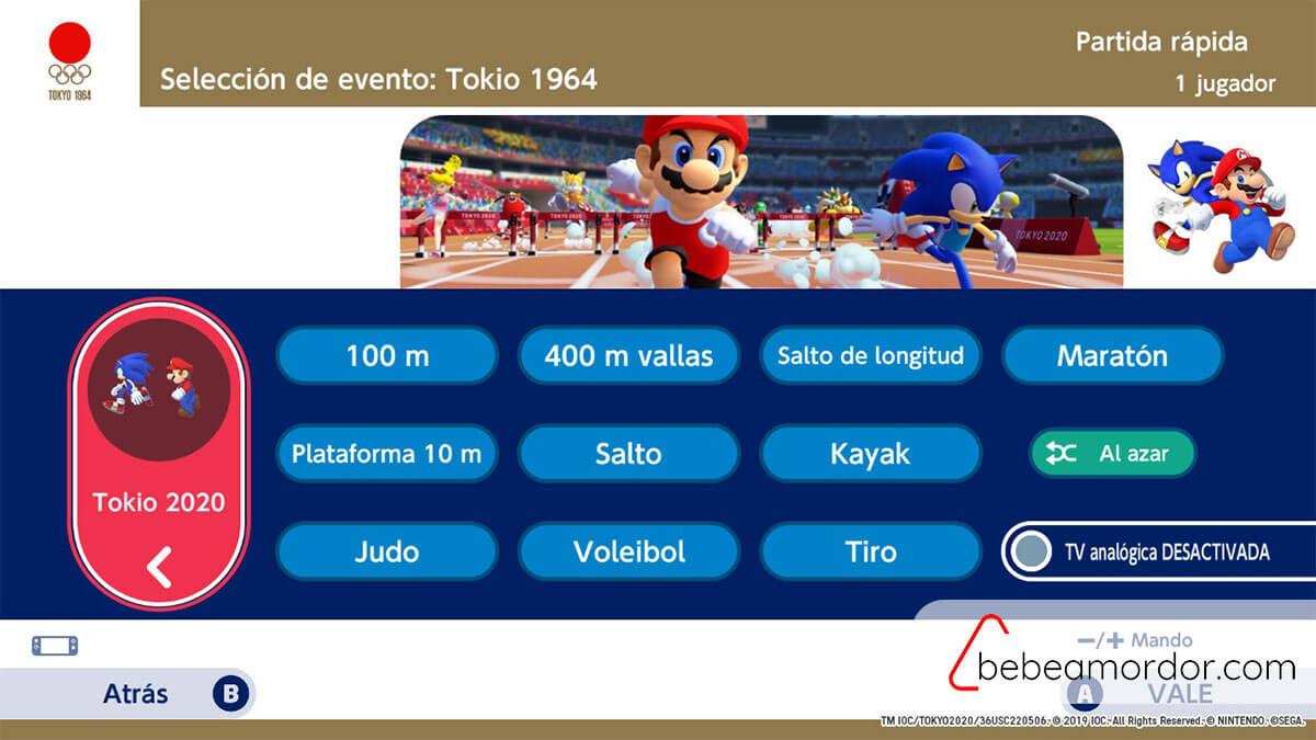 Mario y sonic modos de juego 1964