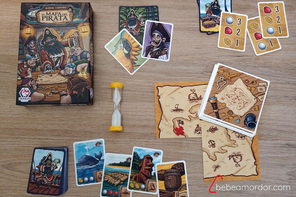 componentes del juego de mesa el Mapa del Pirata