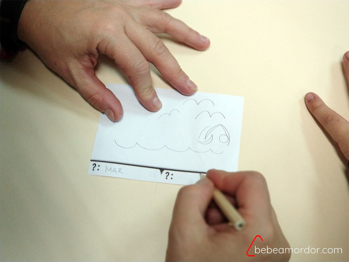 Carta de obra con dibujos alrededor
