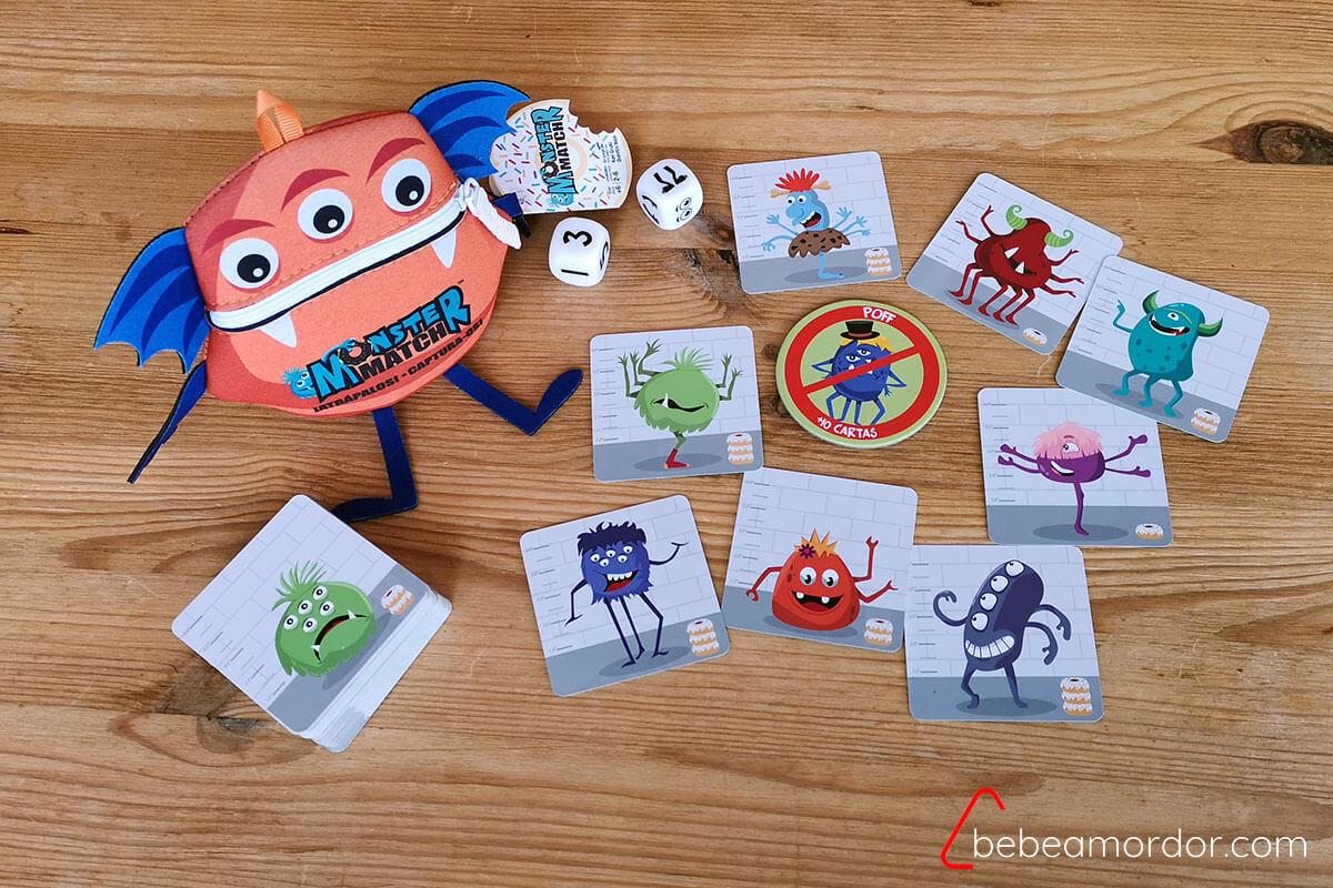 Componentes del juego Monster Match.
