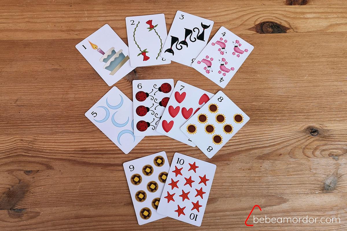 Cartas de números del juego de mesa REinas Durmientes