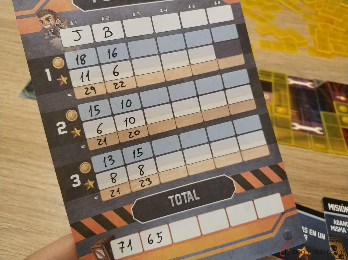 puntuación final del juego de mesa Jetpack Joyride