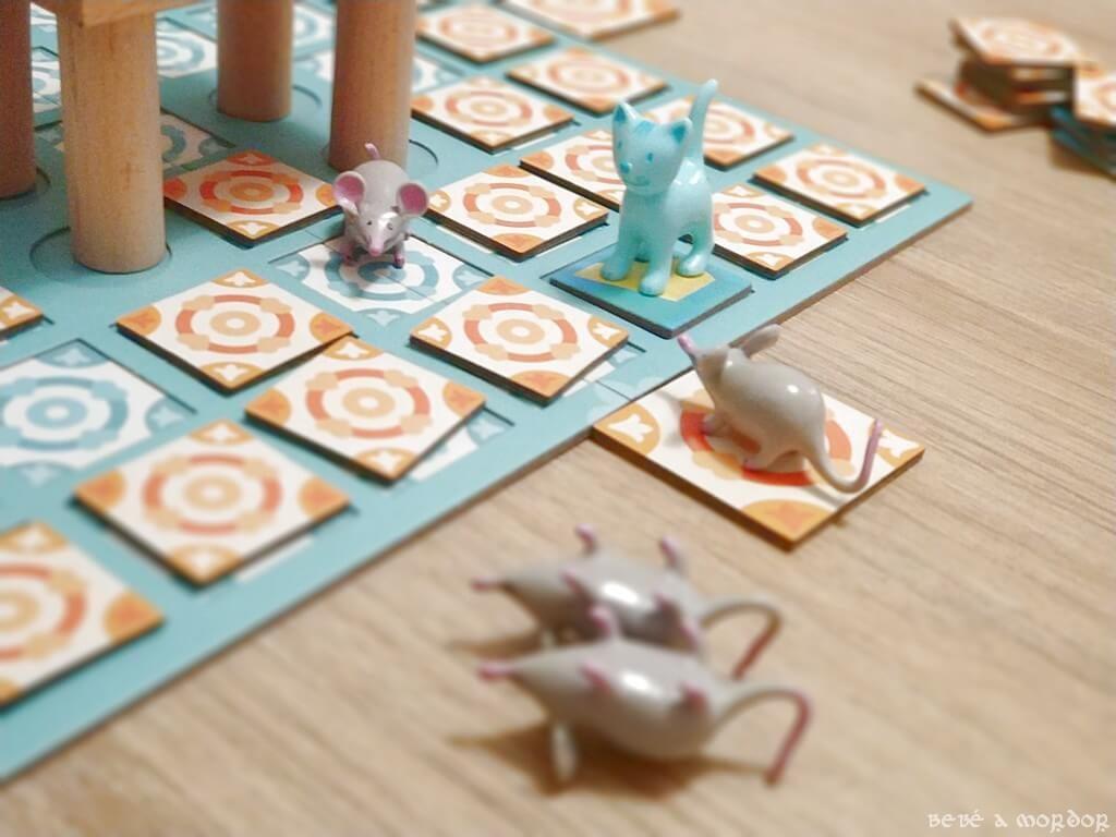 ratones eliminados del juego por el gato en Chop Chop Djeco
