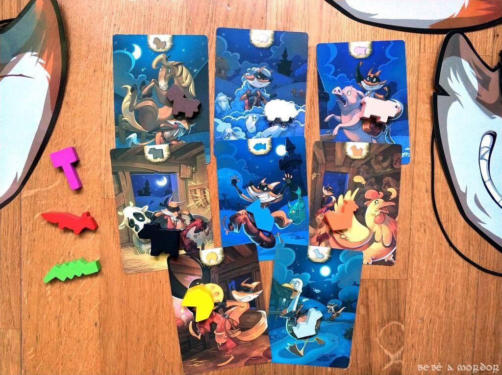 piezas de treta y botines del juego de mesa Zorros al Corral