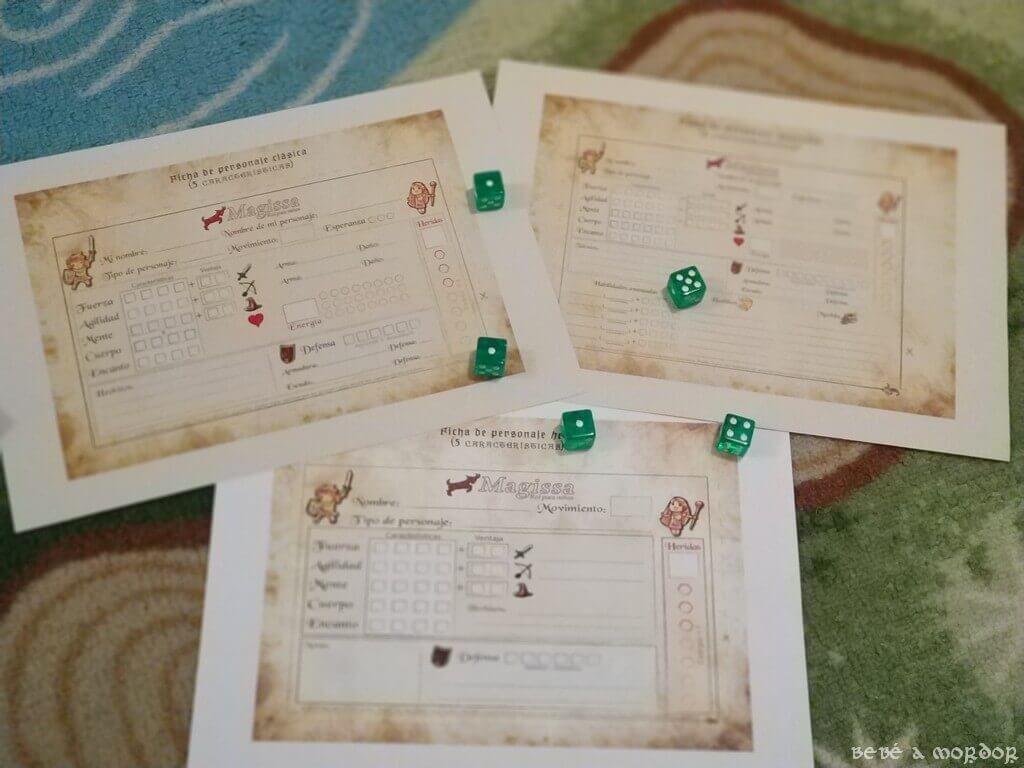 fichas de personaje y dados juego de rol Magissa