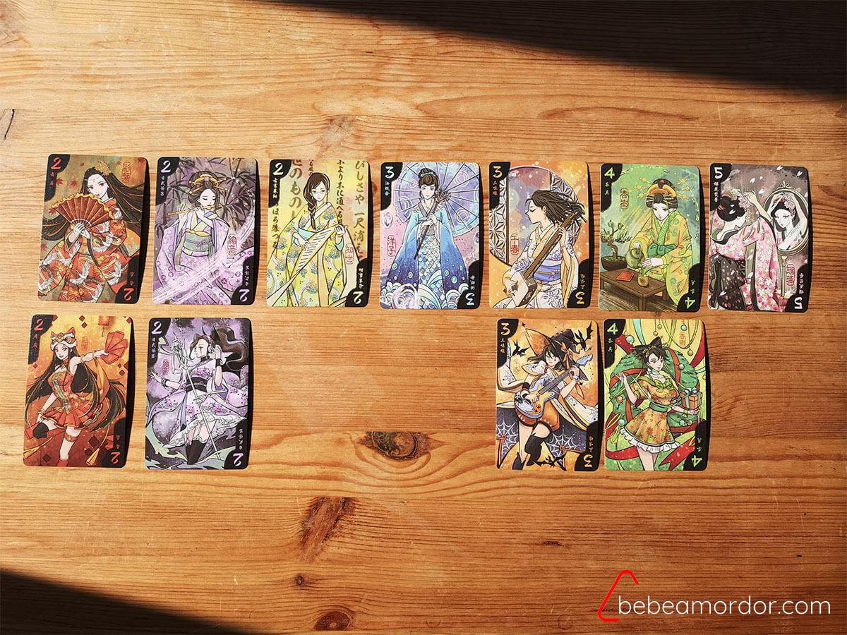 cartas del juego de mesa Hanamikoji de 2 Tomatoes