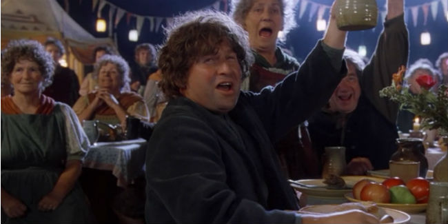 Fiesta Hobbit con copas levantadas