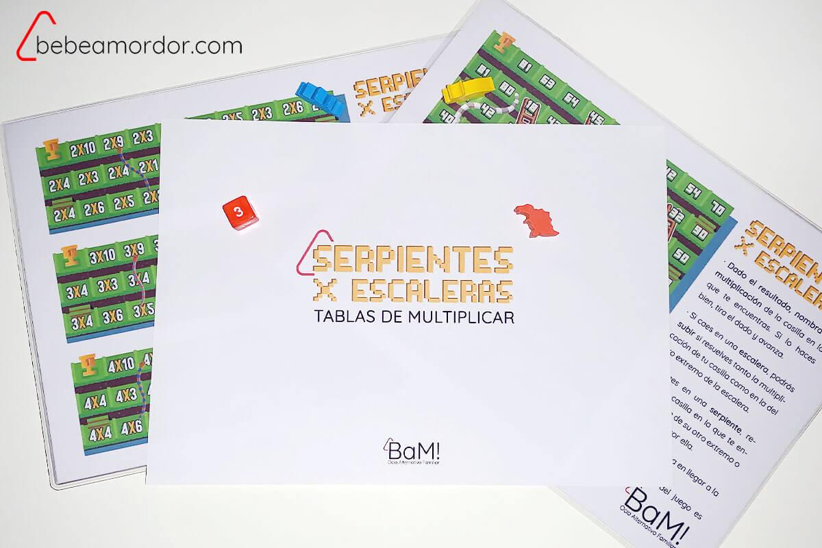 Serpientes y escaleras aprender las tablas de multiplicar jugando imprimible